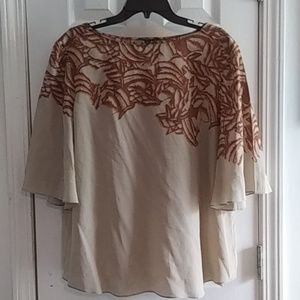 XL Classiques 100% Silk Bell Sleeve Top